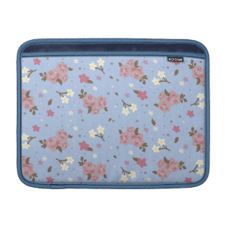 Shabby Chic Pink & Blue Vintage Floral Pattern MacBook Sleeve