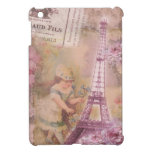 Shabby Chic Pink Eiffel Tower & Girl Collage iPad Mini Cover