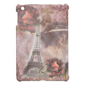 Shabby Chic Pink Eiffel Tower Girl Collage iPad Mini Cover