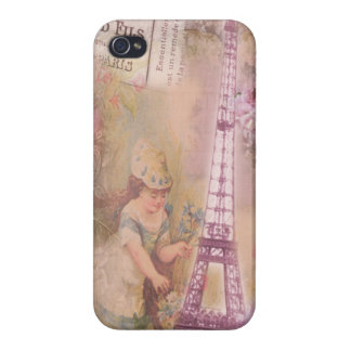 Shabby Chic Pink Eiffel Tower & Girl Collage iPhone 4/4S Cover