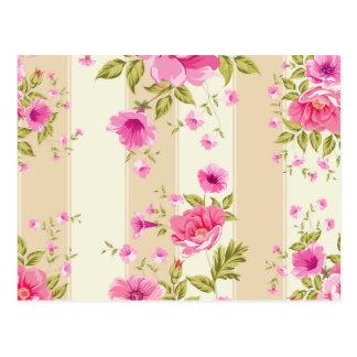 shabby chic, pink floral,beige,vintage,victorian postcard