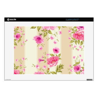 shabby chic, pink floral,beige,vintage,victorian skin for laptop