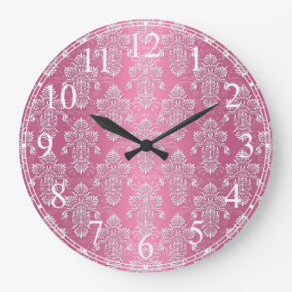 Shabby Chic Pink Floral Damask Large Clock