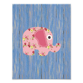 Shabby Chic Pink Floral Elephant, Blue Wood Photo Print