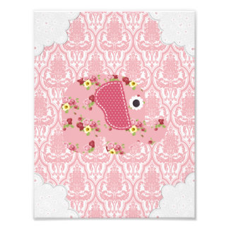 Shabby Chic Pink Floral Elephant, Pink Damask Photo Print