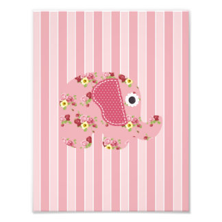 Shabby Chic Pink Floral Elephant, Pink Stripes Photo Print
