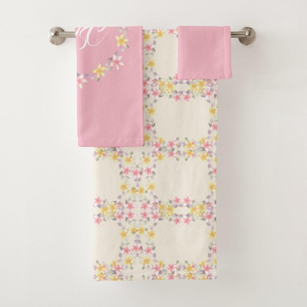 Shabby Chic Pink Floral Pattern Bath Towel Set