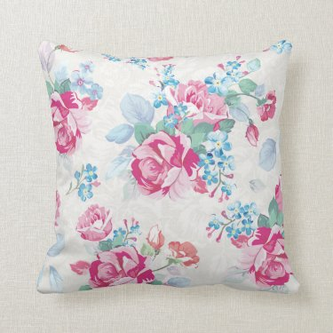 shabby chic,pink floral,trendy,girly,elegant,cute, throw pillow