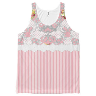 Shabby Chic Pink Floral Urn & Stripes Tank Top All-Over Print Tank Top