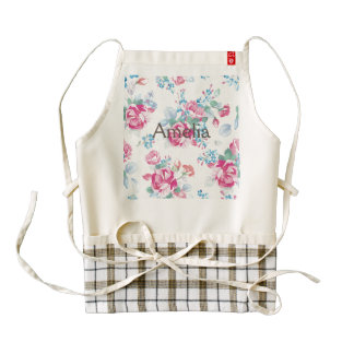 Shabby chic,pink floral,vintage,girly,trendy,cute, zazzle HEART apron