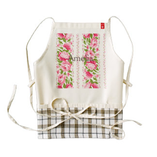 shabby chic,pink,green floral,cute girly,trendy,vi zazzle HEART apron