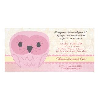 Shabby Chic Pink Owl 1st Birthday Party Invite
