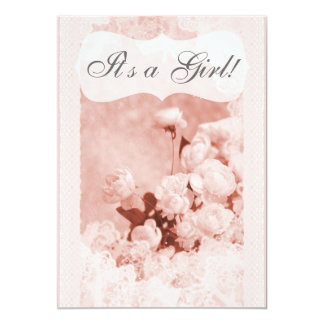 Shabby Chic Pink Peony Flowers Baby Shower Card
