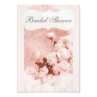 Shabby Chic Pink Peony Flowers Bridal Shower Card