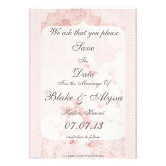 Shabby Chic Pink Peony Flowers Save The Date Personalized Invite