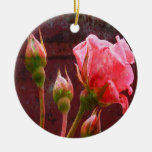 Shabby Chic Pink Rose Christmas Ornaments