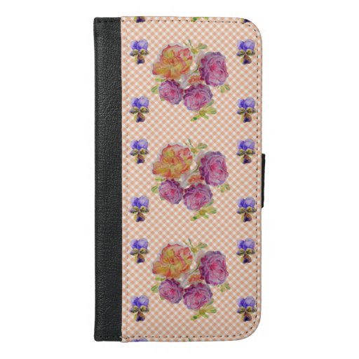 Shabby Chic Pink Rose Floral Check I Phone Case