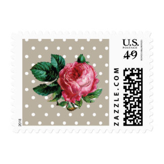 Shabby Chic Pink Rose   Floral Postage Stamps