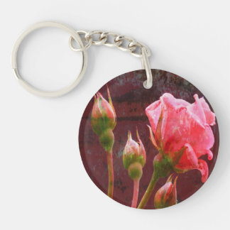 Shabby Chic Pink Rose Single-Sided Round Acrylic Keychain