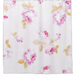 Shabby Chic Pink Rose Linen-Look Shower Curtain