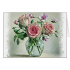 Shabby Chic Pink Rose Vintage Floral Blank Card