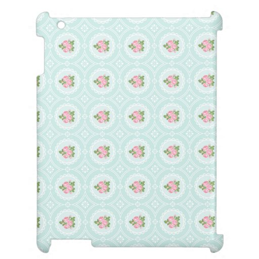 Shabby Chic Pink Roses Aqua Lace Hard Case For The iPad