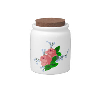 Shabby Chic Pink Roses Candy Jars