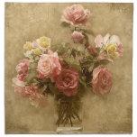 Shabby Chic Pink Roses Cloth Napkin