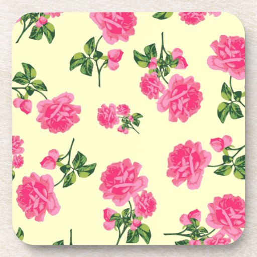 Shabby chic pink roses - cream coasters