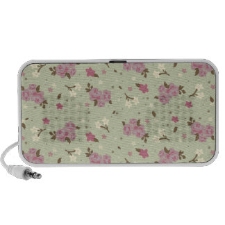 Shabby Chic Pink Roses on Cream-Green Background Travel Speakers