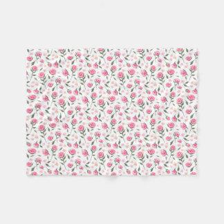 Shabby Chic Pink Roses Pretty Fleece Blanket