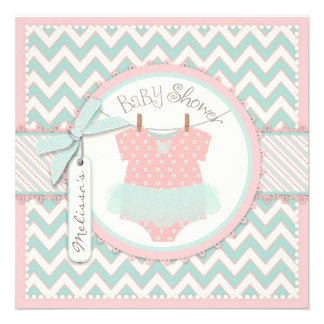 Shabby Chic Pink Tutu Chevron Print Baby Shower Invites