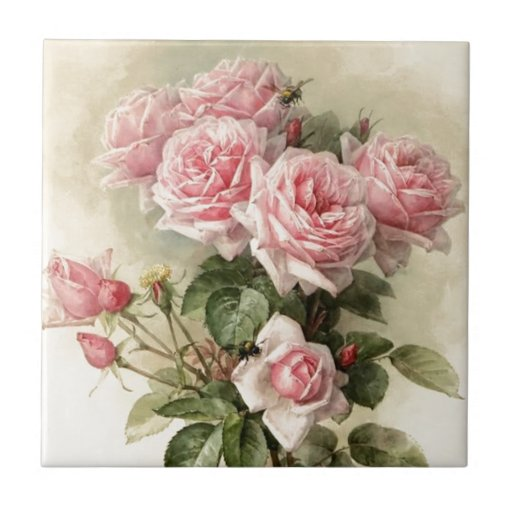 Shabby Chic Pink Victorian Roses Ceramic Tiles Zazzle