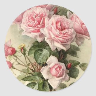 Shabby Chic Pink Victorian Roses Classic Round Sticker