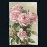 "Shabby Chic Pink Victorian Roses Hand Towel<br><div class=""desc"">This is a gorgeous rendering of California Poppies painted by Paul de Longpre&#39;, a famous artist who immigrated to Hollywood during the Victorian era. He developed an absolutely gorgeous garden retreat of flowers where he created some very popular paintings of the time. I have cleaned up the painting and enhanced...</div>"