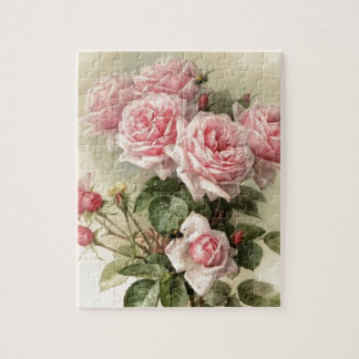 Shabby Chic Pink Victorian Roses Jigsaw Puzzle