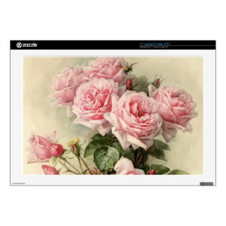 Shabby Chic Pink Victorian Roses Laptop Decals