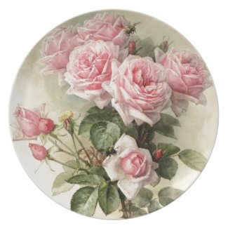 Shabby Chic Pink Victorian Roses Melamine Plate