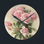 """Shabby Chic Pink Victorian Roses Round Clock<br><div class=""""desc"""">This is a gorgeous rendering of California Poppies painted by Paul de Longpre&#39;, a famous artist who immigrated to Hollywood during the Victorian era. He developed an absolutely gorgeous garden retreat of flowers where he created some very popular paintings of the time. I have cleaned up the painting and enhanced...</div>"""