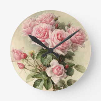 Shabby Chic Pink Victorian Roses Round Clock