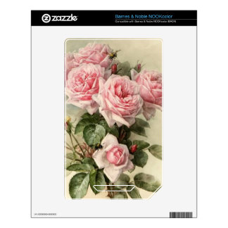 Shabby Chic Pink Victorian Roses Skins For NOOK Color