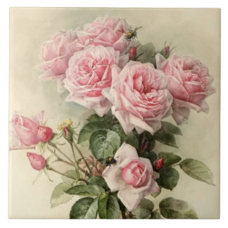 Shabby Chic Pink Victorian Roses Tile