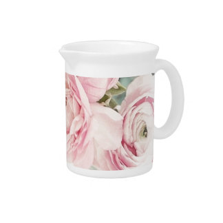 Shabby Chic Pitcher of Pink Flowers