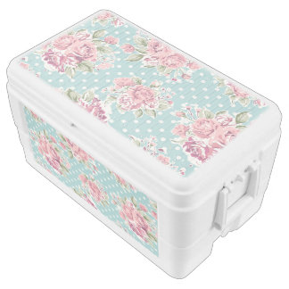 shabby chic,polka dots, pink roses, vintage,cute,v chest cooler
