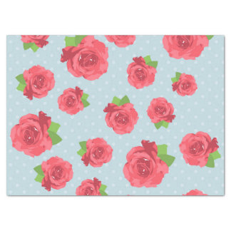 """Shabby Chic, Polka Dots, Roses - Red Green Blue 17"""" X 23"""" Tissue Paper"""