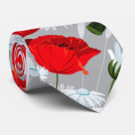 shabby chic poppies and daisies red and white tie