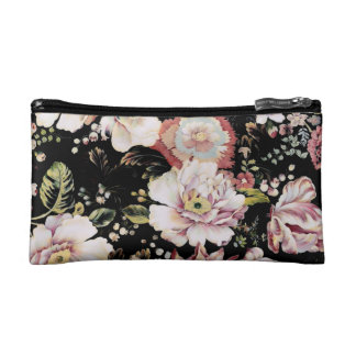shabby chic preppy girly vintage black floral makeup bags