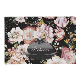 shabby chic preppy girly vintage black floral placemat