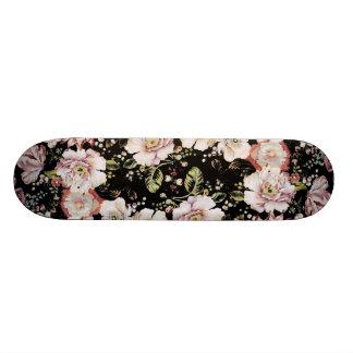 shabby chic preppy girly vintage black floral skateboard deck