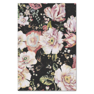shabby chic preppy girly vintage black floral tissue paper